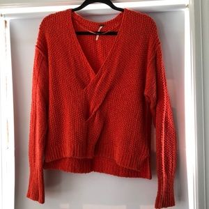 Free People red vneck front twist sweater. Size S